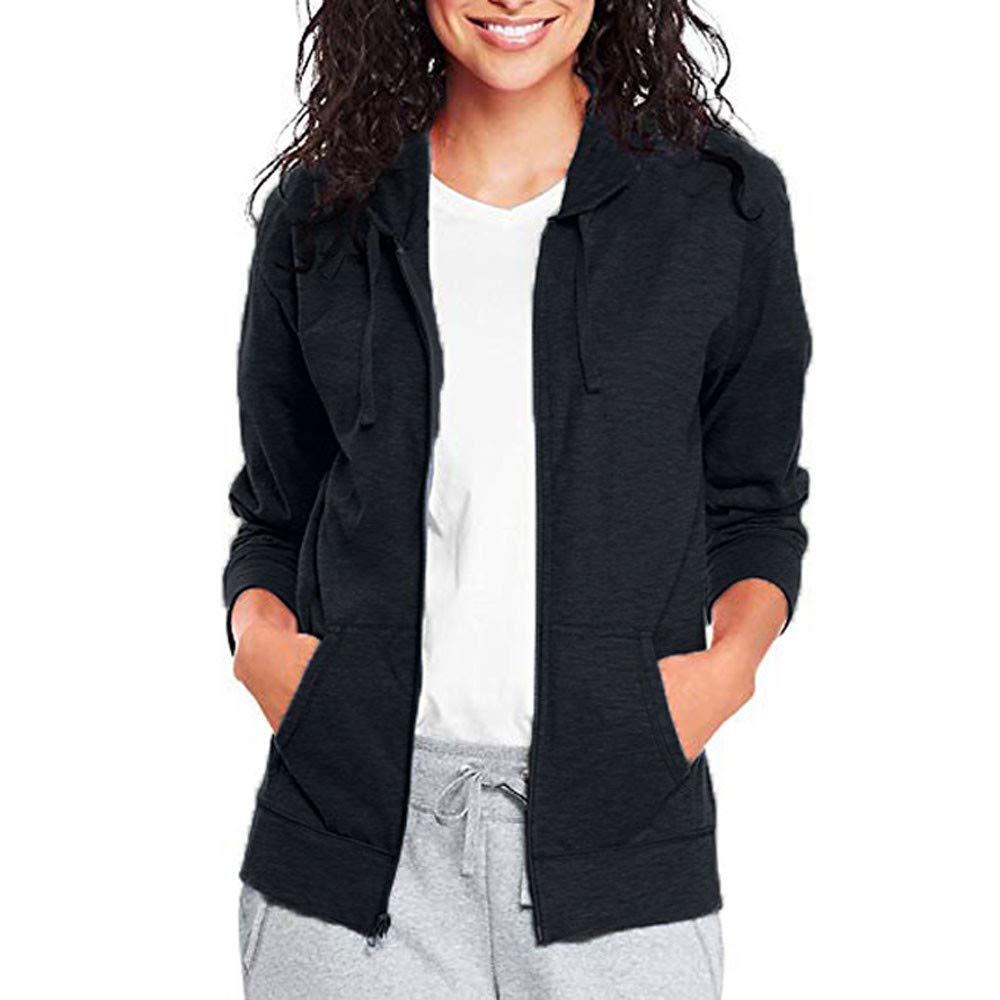 Pervobs Coat&Jacket, Clearance! Women Loose Long Sleeve Solid Classic Slim Full Zip Hoodie Thin Jacket Coat Pockets (XL, Navy) by Pervobs Women Coat&Jacket (Image #1)