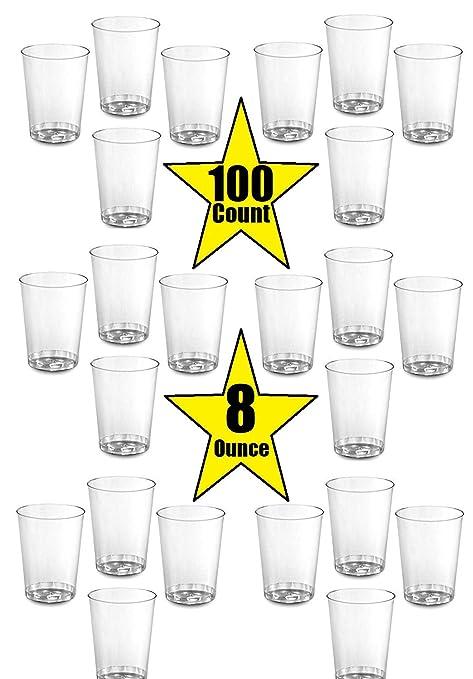 100 vasos de plástico duro de 8 onzas, ideales para el hogar ...