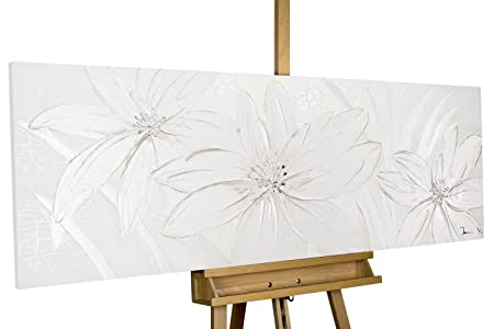 Large Abstract Pattern White Flowers Modern art acrylic mural on frame original hand-painted canvas KunstLoft/® Painting Frozen Flowers 59x20inches