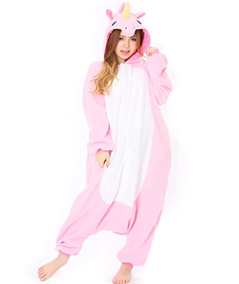Pink Unicorn Adult Animal Pyjamas / Fancy Dress Unicorn Costume Kigurumi