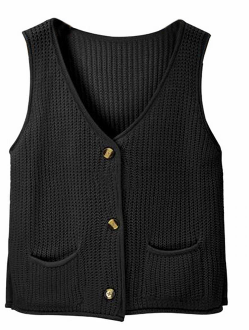 Jaycargogo Womens V-neck Button Up Sleeveless Knit Vest Sweater Waistcoat Black OS