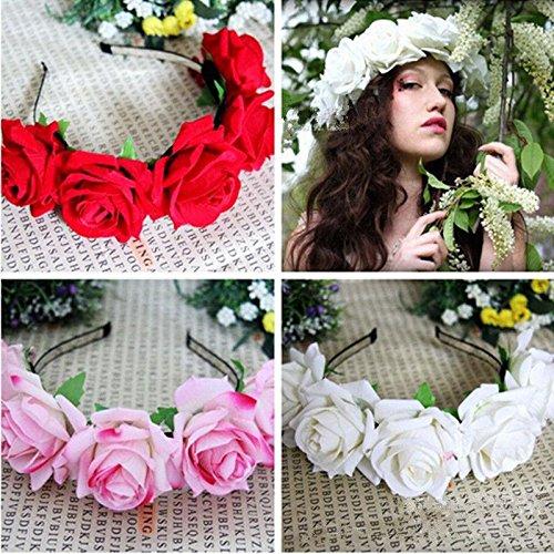 KeyZone 1pc red Pretty Handmade Floral Crown Rose Flower Headband Hair Garland Wedding Headpiece 2#