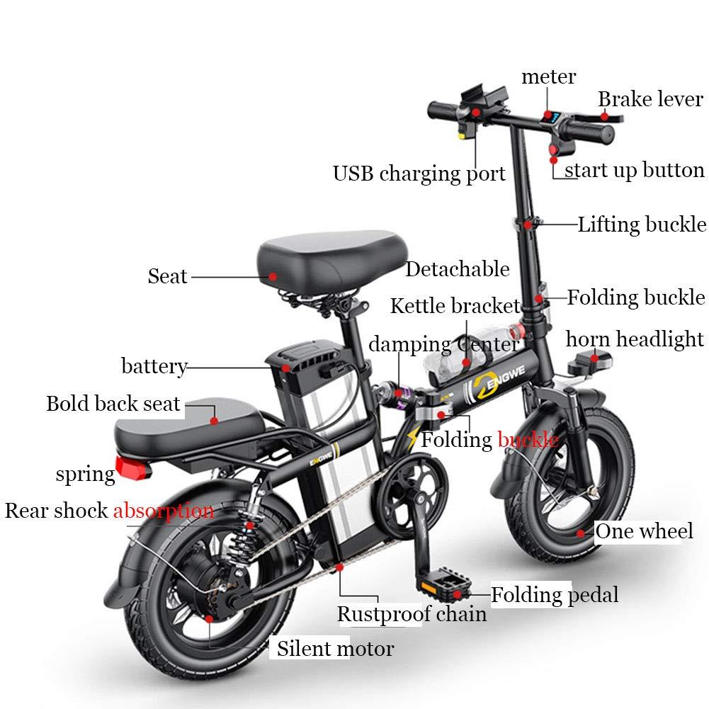 Amazon.com: ZBB bicicleta eléctrica 14 pulgadas portátil ...