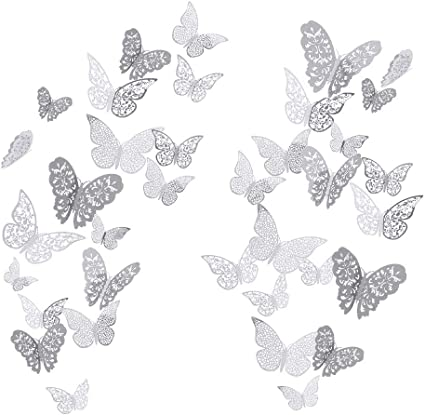le salon la salle de bain YUE QIN D/écorations Papillon 3D Papillon Autocollants Peintures murales pour la maison la chambre des filles la d/écoration de f/ête 36 pi/èces Argent