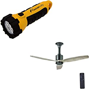 Toucan City LED Flashlight and Home Decorators Collection Chaplin 52 in. Indoor Glossy Black Ceiling Fan with Remote AM443-GLBK