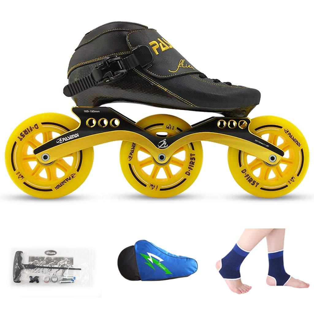 男性と女性のためのインラインスケート ローラースケート、 スピードスケート靴、 レーシングシューズ、 子供の大人のプロスケート、 男性と女性のインラインスケート 耐摩耗性と通気性 (Color : Black shoes+yellow wheels, Size : 32)   B07SRR79NW