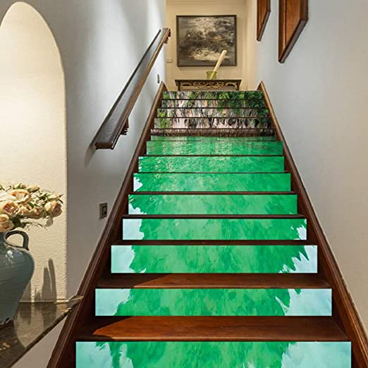 """39.3/""""x7/"""" 3D Stone Step Self-adhesive Staircase Stickers Wall Murals Home Decor"""