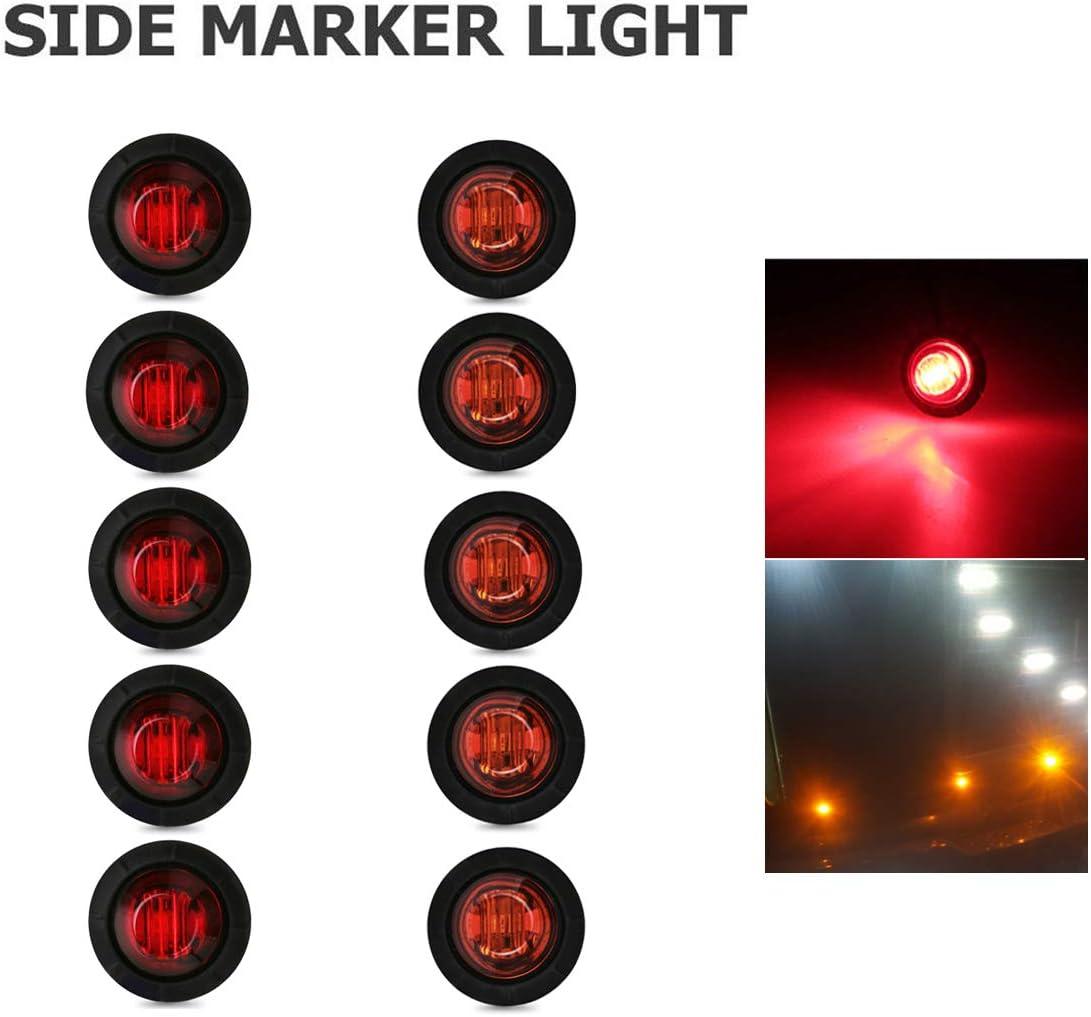 Rouge YUGUIYUN 10pcs LED Feux De Gabarit Lat/éraux 3 LED 3//4 Feux De C/ôt/é Lampes Indicateurs pour 12V Remorque Voiture V/éhicule Camion Caravane Feux Lat/éraux Eclairage