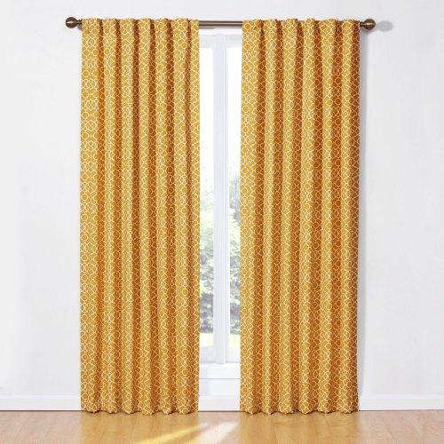 Waverly Lovely Lattice Panel Curtains, 50 x 84-Inch, Mimosa - Waverly Tab Curtains