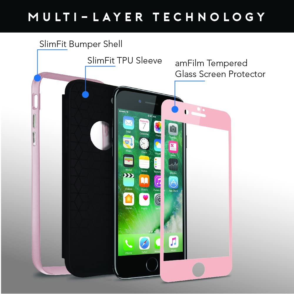 with Compatible Slim-Fit Bumper Case Rose Gold Full Coverage Tempered Glass Screen Protector Edge to Edge for iPhone 7 with Slim-Fit Bumper Case amFilm iPhone 7 Screen Protector Glass