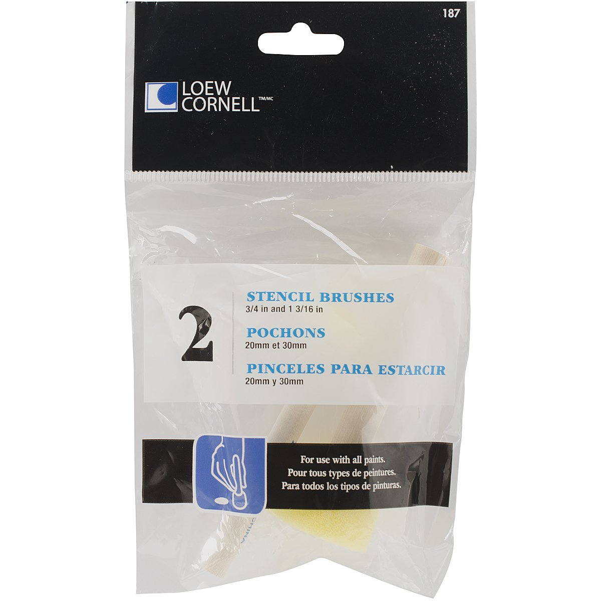 Loew-Cornell Round Sponge Stencil Brushes, 20mm/30mm, 2-Pack by Loew-Cornell