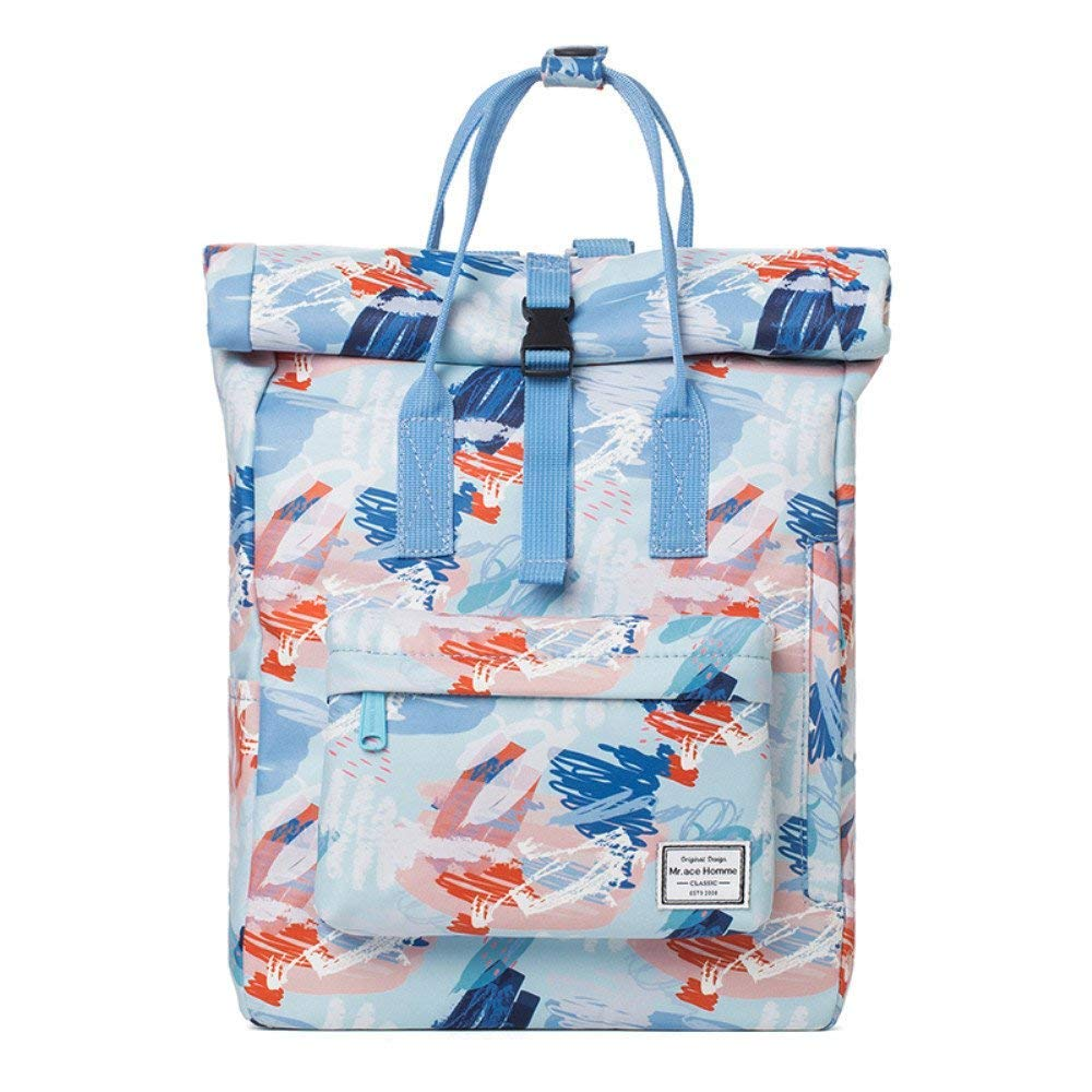 Yisaesa Sac à bandoulière Students 'Schoolbag Sac à Dos de Voyage Campus Femme, Bleu (coloré : Bleu)