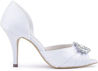 ElegantPark A2136 Donna Pompe Peep Toe Tacco A Spillo Fibbia Pieghe Satin  Partito Ballo Scarpe Da Sposa ffe32536dd57