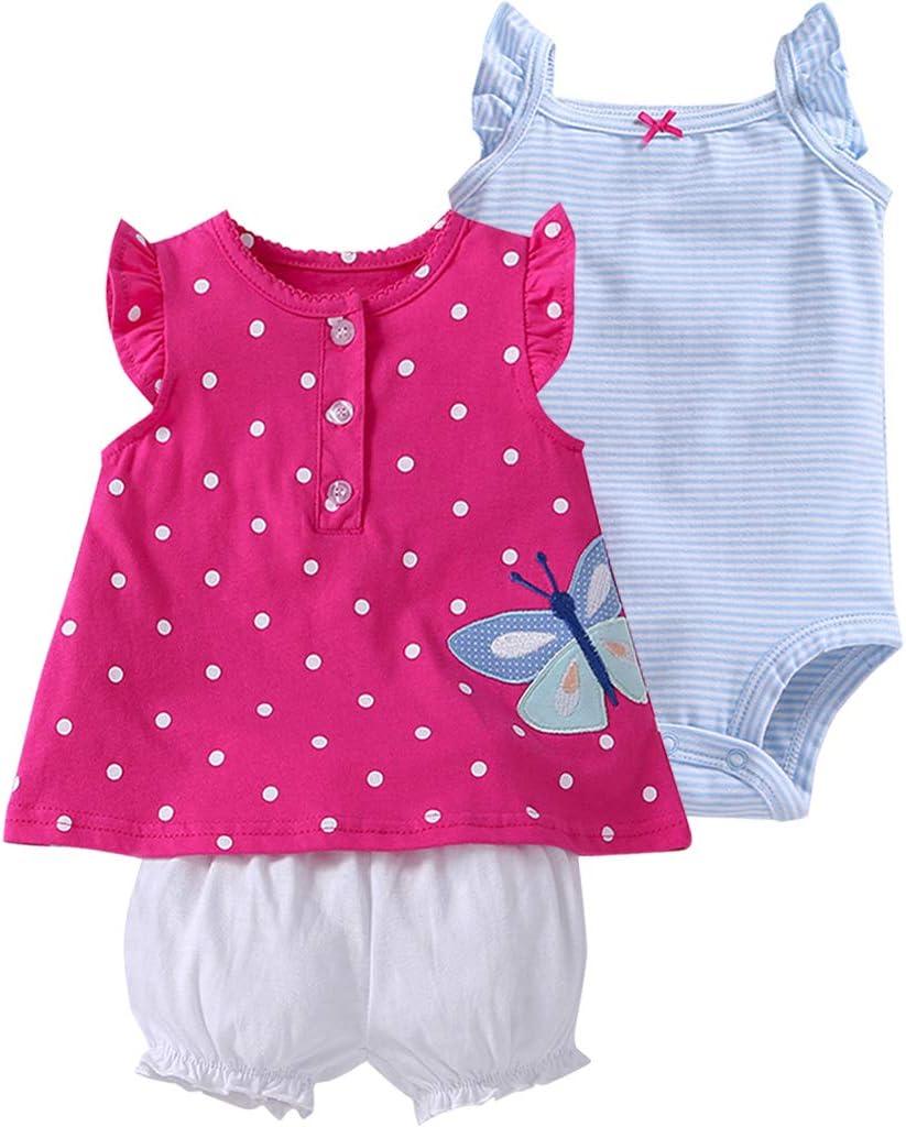 Bebé Niñas Vestido de Manga Corta + Pantalones Cortos + Body, 3 Piezas Conjuntos de Ropa 3-6 Meses