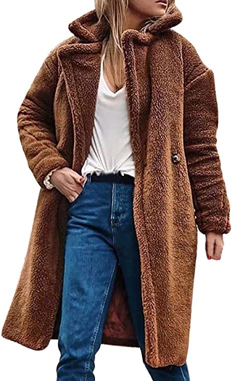 DEELIN Peluche Manteau Hiver Chaud Femme Overcoat Long Veste
