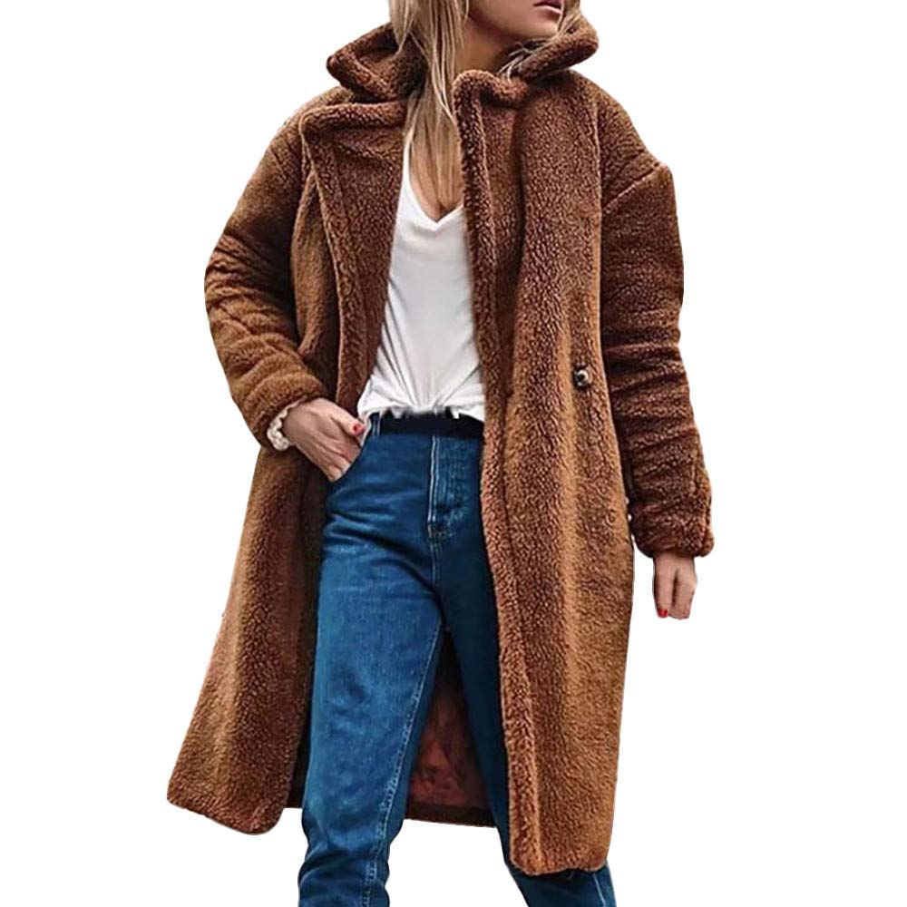 AMUSTER Damen langarm Plü sch Lammwollmantel Revers Mantel Teddy-Fell Fellimitat Jacke Tunika Parka Cardigan Strickjacke Frauen Winter Casual Warme Parka Jacke