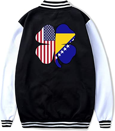 NJKM5MJ Unisex Youth Baseball Uniform Jacket American Bosnian Flag Shamrock Coat Sport Outfit Back Print
