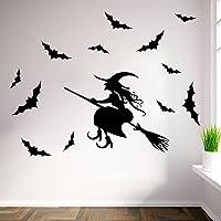 Halloween Raamstickers - Heks Vleermuis Verwijderbare Decals Voor Kinderkamer Achtergrond Muursticker, Halloween Party…