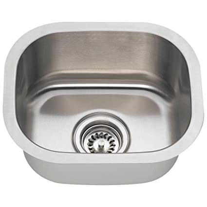 Merveilleux 1512 18 Gauge Undermount Single Bowl Stainless Steel Bar Sink