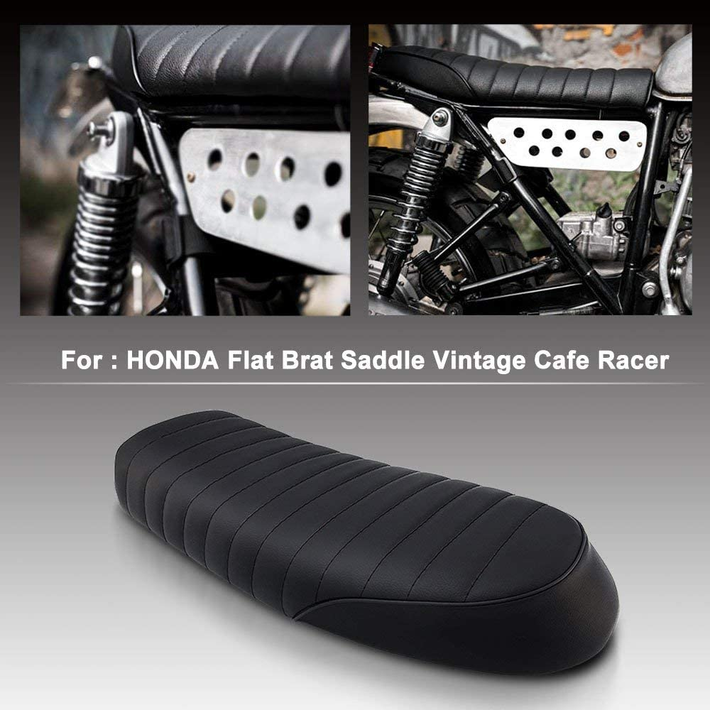 Romsion Vehicle Accessories Motorcycle Vintage Saddle Cafe Racer Seat Flat Brat for Honda CB CL Yamaha SR XJ SUZUKI GS brown