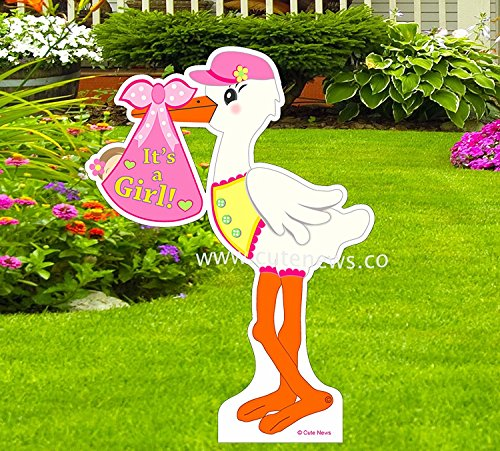 It's a Girl Yard Stork Sign - New Baby Lawn Pink Announcement Die Cut 4 ft. (Baby Lawn Signs)