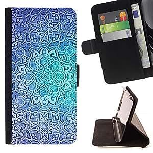 For Samsung Galaxy S6 Case , Flor azul del trullo repetitivo patrón- la tarjeta de Crédito Slots PU Funda de cuero Monedero caso cubierta de piel