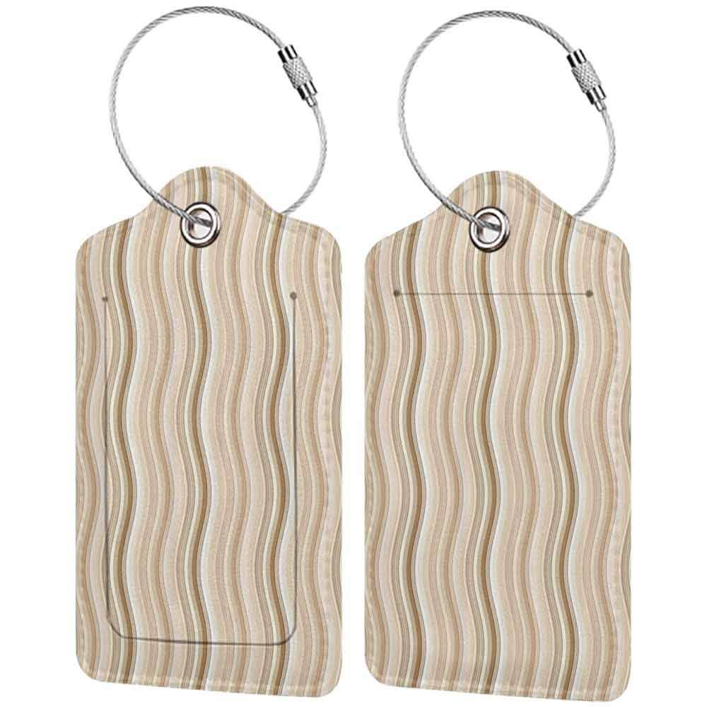 Waterproof luggage tag Tan Wavy Curvy Lines Flowing in Vertical Direction Swirl Energy Motion Inspired Soft to the touch Light Brown Tan White W2.7 x L4.6