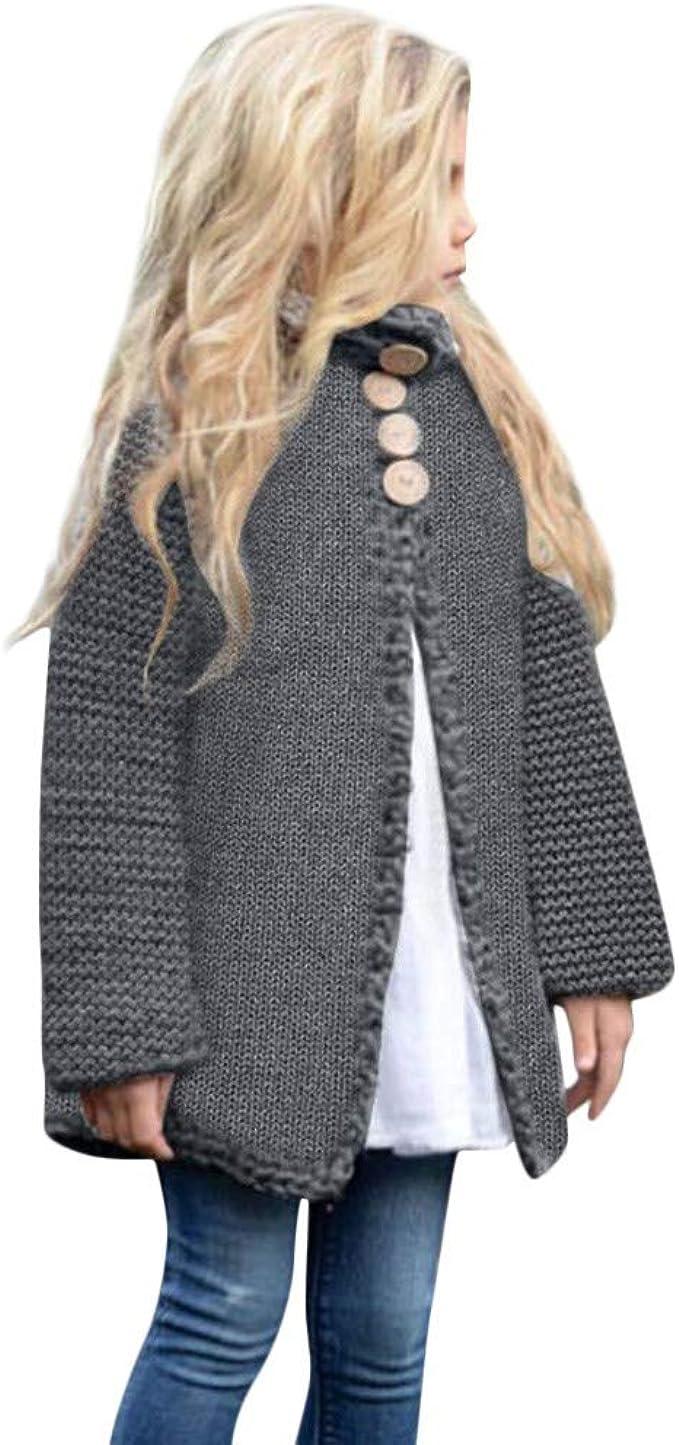 Manteau en Tricot/é BaZhaHei Enfants B/éb/é Fille Couleur Unie Bouton De Costume Pull Cardigan Veste Blouson V/êtements