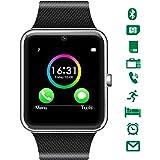LATEC Smartwatch Bluetooth con cámara soporta Tarjeta SIM TF Tarjeta de Pulsera teléfono Reloj Pantalla táctil Reloj Inteligente podómetro Pulsera para Android Smartphones