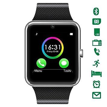 LATEC Smartwatch Bluetooth con cámara soporta Tarjeta SIM TF Tarjeta de Pulsera teléfono Reloj Pantalla táctil Reloj Inteligente podómetro Pulsera para ...