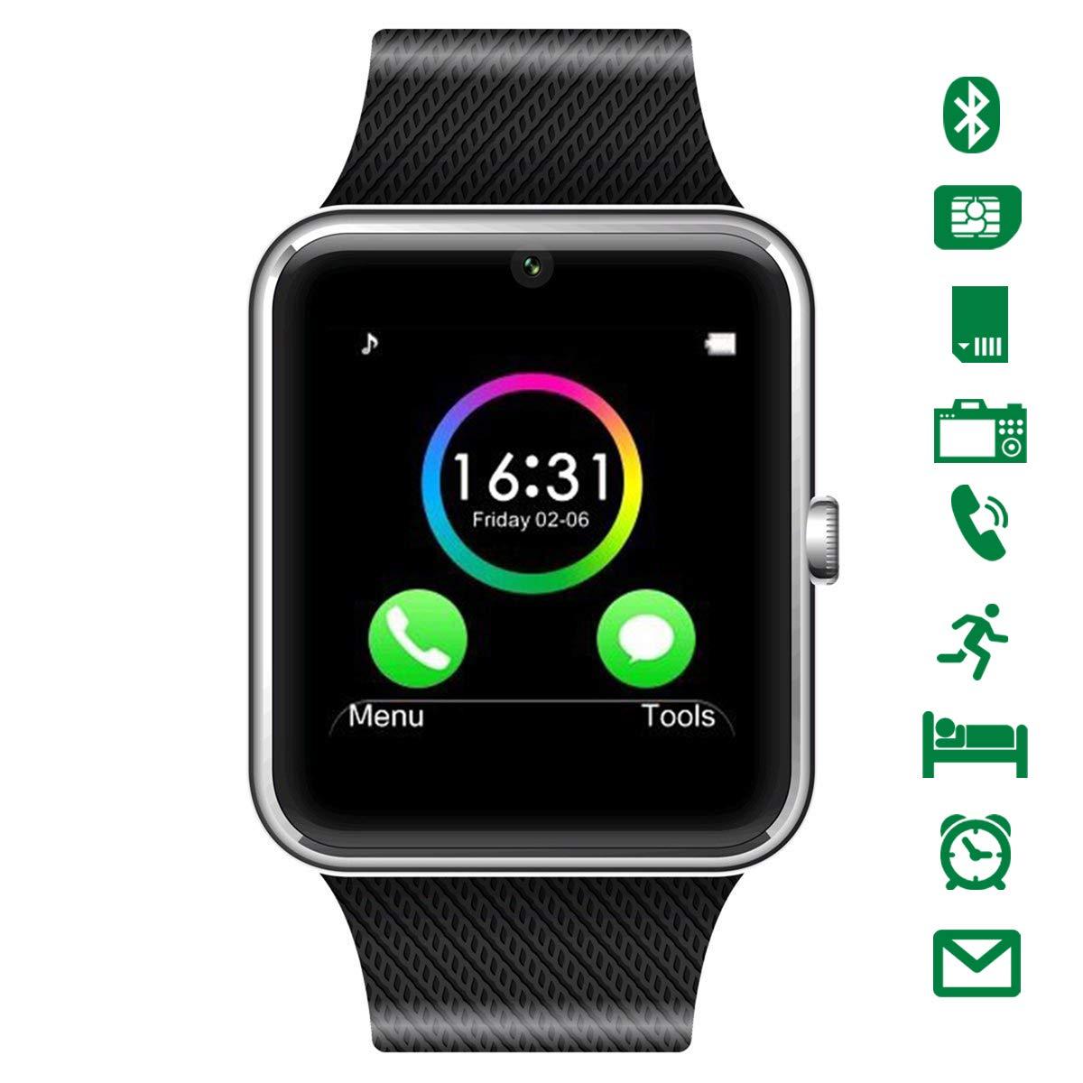 LATEC Smartwatch Bluetooth con cámara soporta Tarjeta SIM TF Tarjeta de Pulsera teléfono Reloj Pantalla táctil
