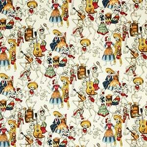 Alexander Henry Folklorico Fiesta de los Muertos Natural, 44-inch (112cm) Wide Cotton Fabric Yardage