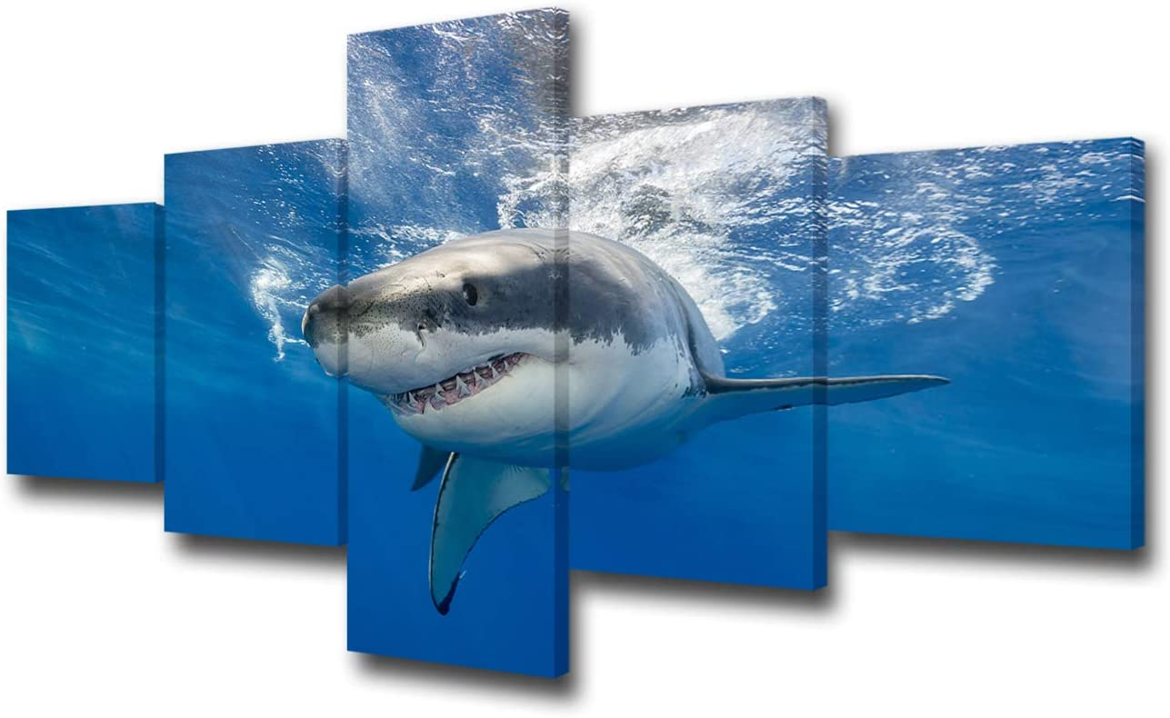 "TUMOVO 5 Piece Great White Shark Paintings Wall Art Canvas Prints Black and White Large Animal Wall Poster Artwork Pictures for Home Office Wall Decorations Framed Ready to Hang - 50"" W x 24"" H"