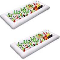 2 Packs Inflatable Pool Table Serving Bar - Large Buffet Tray Server with Drain Plug - Keep Your Salads & Beverages Ice…
