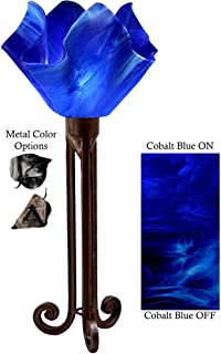 product image for Jezebel Radiance Torch Light. Hardware: Brown with Brown Highlights. Glass: Cobalt Blue, Flame Style