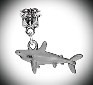 Shark Great White Mako Beach Aquarium Dangle Charm for European Slide Bracelets Adorable Charms and More for Your own Designs by CharmingStuffS
