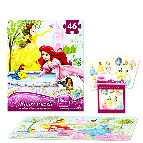 Disney Princess Giant Floor Puzzle for Kids (3 Foot Puzzle, 46 Pieces-- Bonus Disney Princess Stickers)