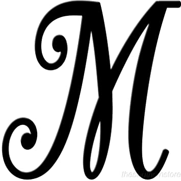 Initial It Initial Powder Coat Black Metal Script Letter M: Amazon
