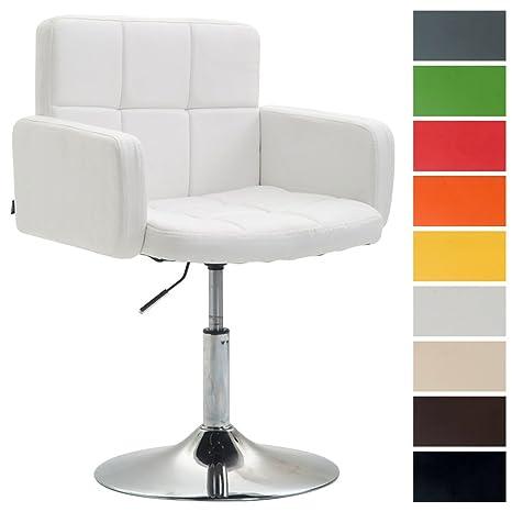Sedia Design Regolabile.Clp Sedia Design Lounge Los Angeles Similpelle Poltroncina Girevole E Regolabile Sedia Da Pranzo Imbottita Sedia Conferenza Con Braccioli Bianco