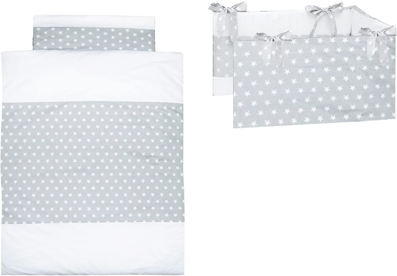 Removable with Zipper 100/% Cotton Duvet Cover and Pillow Case Polka Dots Vizaro OekoTex Cot Bumper 3 Pieces Set for Cot 60x120 cm C Made in EU