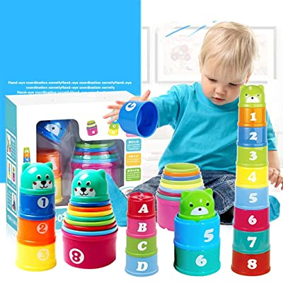 Lacegre Funny Practical Children Stacked Cup Toys Early Educational Toy Cup Set Activity Play Centers: Home & Kitchen