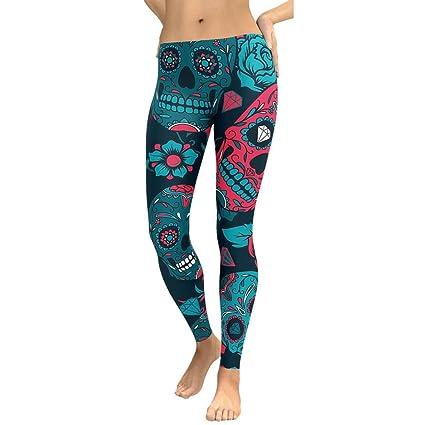 Leggins de Fitness para Mujer, LILICAT® Pantalones Chandal Deportivos con Estampado de Esqueleto Calaveras Mallas Ropa Running Yoga Gimnasio Deporte, ...