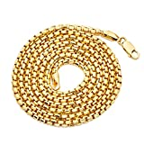 LoveBling 10K Yellow Gold 2.5mm Open Hollow Box Chain Necklace (24)