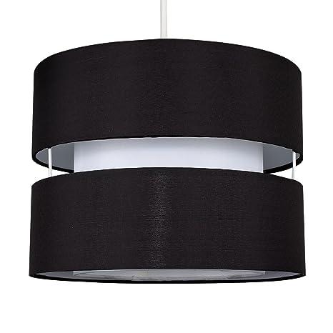 MiniSun - Moderna pantalla para lámpara de techo sophia - Cilíndrica a dos niveles con acabado en negro