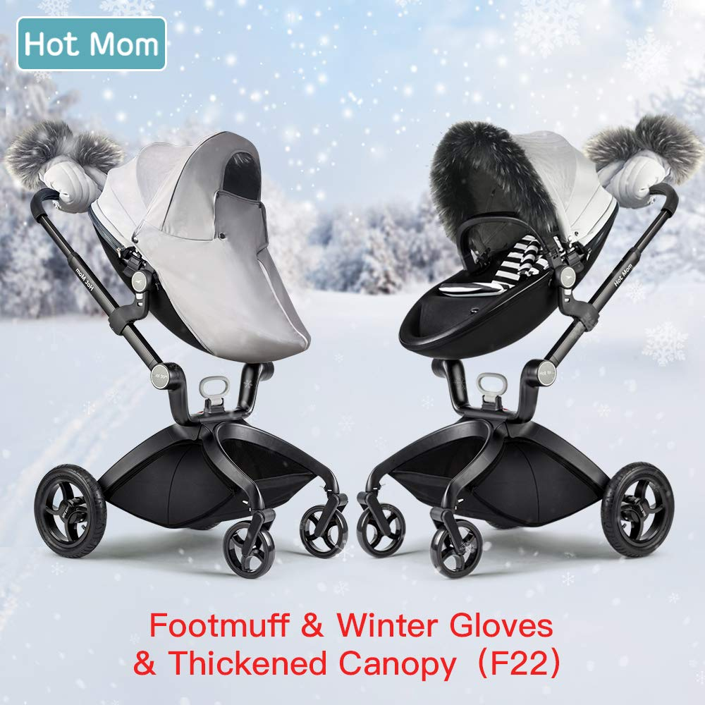 Hot Mom Stroller Winter Kit Winter Protection,Pushchair Gloves, Foot muff, rain Visor, Artifical Fur Trim Protection Cover for The Winter Wind
