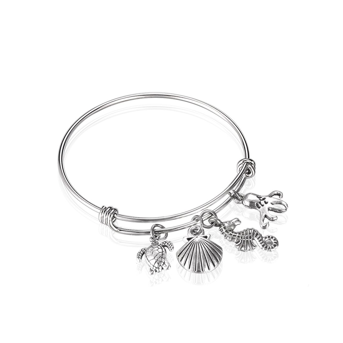 Sea Animals Ocean Charm Bracelet Love the Sea Summer Gift (Silver)