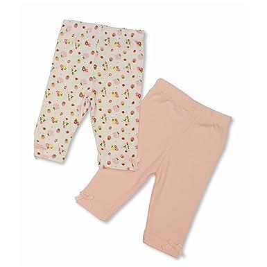 016bd1d20f75 Baby Girls Pink 2 Pack Of Leggings - Plain Pink   Strawberries ...
