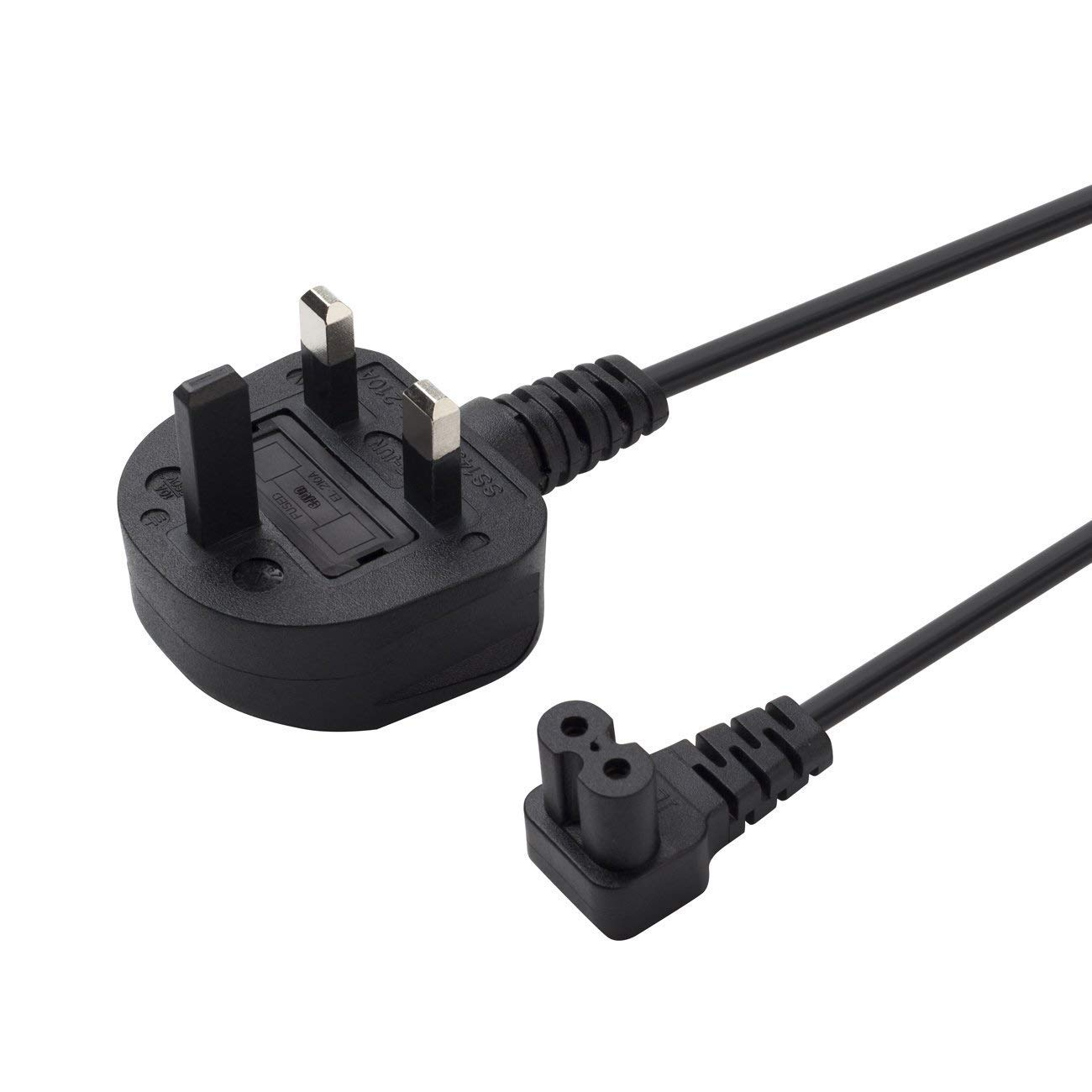 Power Cable UK 3PIN Plug to Right Angled 90 Degree,Figure Fig of 8 IEC C7 Mains Power Lead Cable 3M
