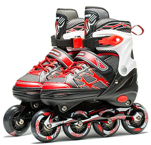 Coolkuskates Adjustable Inline Skates with Illuminating Wheels for Recreation (S(12-1))