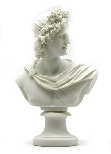 Apollo God of Music Light Alabaster Bust Head Statue Sculpture 5.9